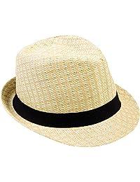 AshopZ Men Women Summer Outdoor Travel Tweed Print Black Band Fedora Straw Hat