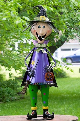 TisYourSeason Life-Size 5 Foot Iron Nutcracker Halloween Statues Holiday Decorations Happy Halloween Porch Greeters 5 Foot Tall Witch