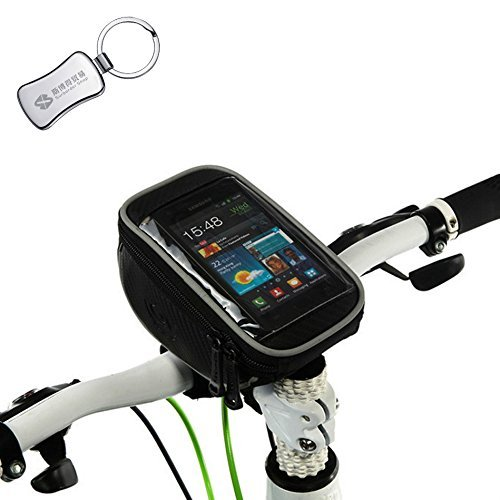 Roswheel Bicycle Bike Handlebar Bag for Touch Screen Cell Phone iPhone / GPS Sports Bag Basket Black bicycle accessories + A keychain ()