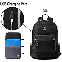Crofull Folding Backpack with USB Charging Port (Black)