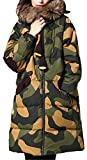 Allonly Women's Camouflage Keeping Warm Long Puffer Jacket Down Coat With Faux Fur Collar And Hood