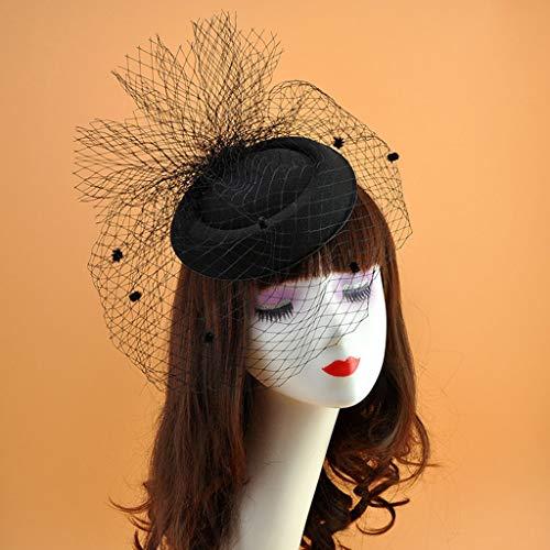 PoityA Womens Felt Fascinator Hat Topper Mesh Fishnet Veil Small Plush Wave Point Decor Hair Clips Wedding Bridal Cocktail Headwear - Black