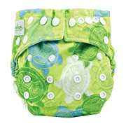 Bumkins Cloth Diaper Snap All-In-One (AIO) or Pocket, 7-28lbs, Green Turtle