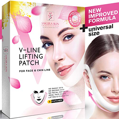 V Line Mask Neck Mask Face Lift V Lifting Chin Up Patch Double Chin Reducer Neck Lift V Up Contour Tightening Firming Moisturizing Сollagen Chin Mask V Shape Face Lifting ()