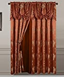 All American Collection New 2 Panel Jacquard-Like Polyester Curtain with Attached Valance and Sheer Backing (Rust) Review