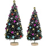 2 Pcs Flocked Tabletop Trees Small Artificial Frosted Bottle Brush Trees Tiny Fake Sisal Tree Miniature Faux Decorated Christmas Tree with White Snow and Colored Beads Mini Green Tree Decorations Chri