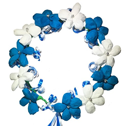 Handmade Flower Crown Crepe Paper Artificial Flower With Ribbon Ponytail Festival Party (White Blue)