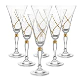 Set of 6 Handcrafted Red Wine Crystal Glass Drinking Glasses with Real Gold Detailing, Unique Luxurious Gift for Men and Women - For Wine & More, 9'' Height, 10 oz