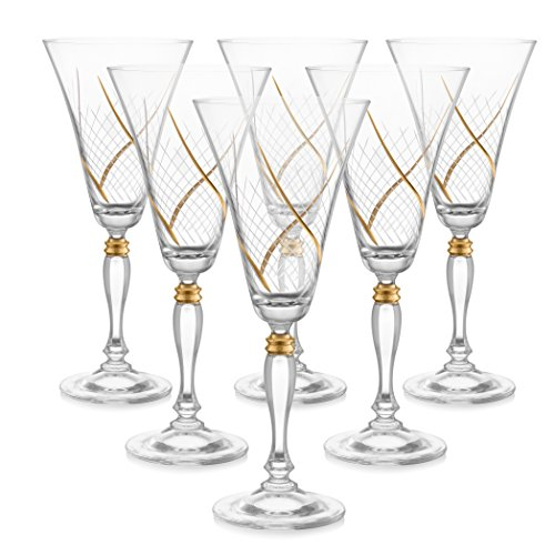 Set of 6 Handcrafted Red Wine Crystal Glass Drinking Glasses with Real Gold Detailing, Unique Luxurious Gift for Men and Women - For Wine & More, 9'' Height, 10 oz by Glazze Crystal