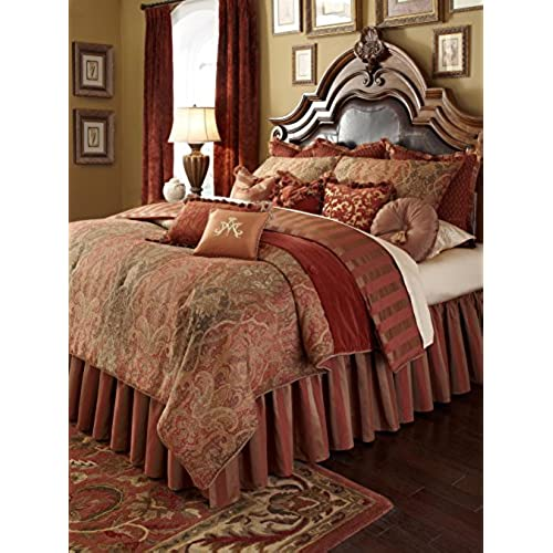 Bon Michael Amini 13 Piece Woodside Park Comforter Set, King, Green/Gold/Red
