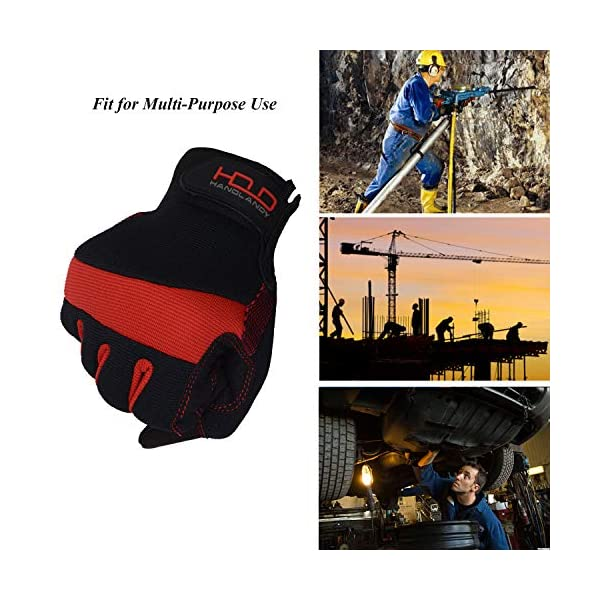 HANDLANDY Hi-vis Reflective Work Gloves, Anti Vibration Safety Gloves, Touch Screen, Orange Flexible Spandex Back (Small… 4