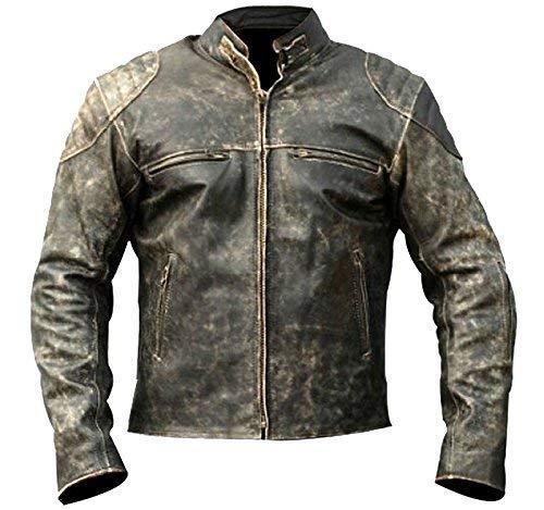 Antique Retro Vintage Style Men's Cafe Racer Distressed Leather Jacket ()