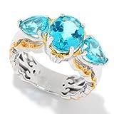 Michael Valitutti Palladium Silver Multi Shape Paraiba Color Topaz 3-Stone Ring