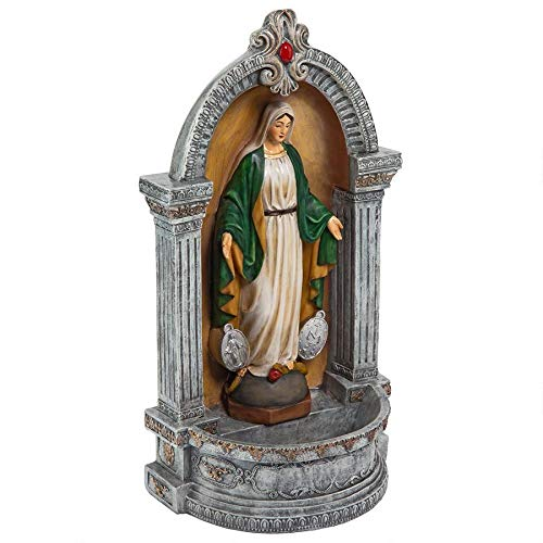 Design Toscano Virgin Mary of The Miraculous Medal Italian-Style Font Statue, 12 Inch, Full Color