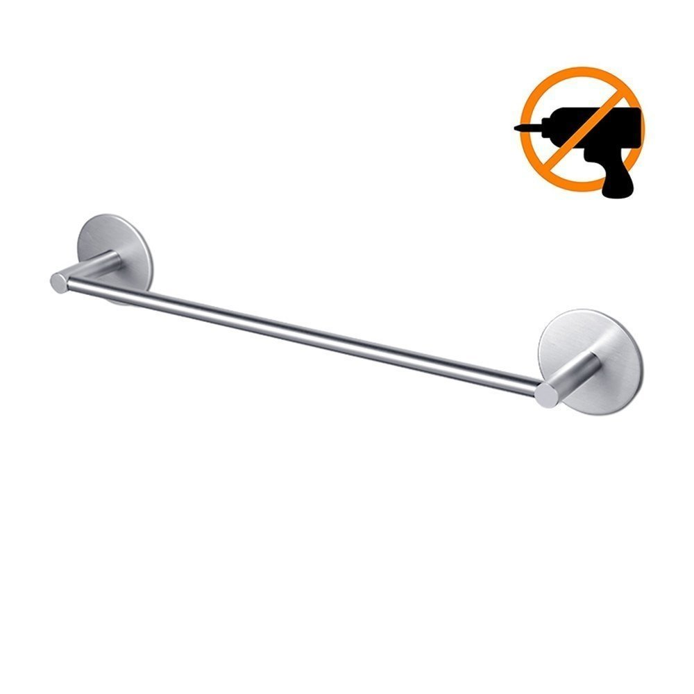 BYS 304 Stainless Steel 40cm Towel Bar Rail, 3M Self-Adhesive Wall Mounted Towel Hanger, Brushed Finished Towel Holder for Bathroom