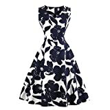 LesTT Women's Vintage 50s Floral Spring Garden Rockabilly Retro Dress Audrey Hepburn Prom Party Cocktail Dress(Navy Blue,M)