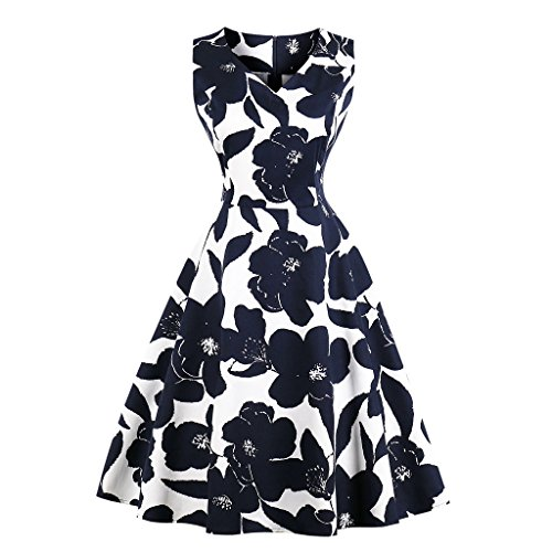 Flower Print Zipper - Women's Vintage V Neck Sleeveless A-Lined Printed Midi Dress, Black, L