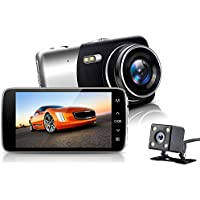NEXGADGET Dual Lens Dash Cam Full HD 1080P Front + VGA Rear lens 170°+ 120° Super Wide Angle Car Dashboard Camera with 4.0 IPS Screen, G-Sensor, Motion Detection, Parking Mode