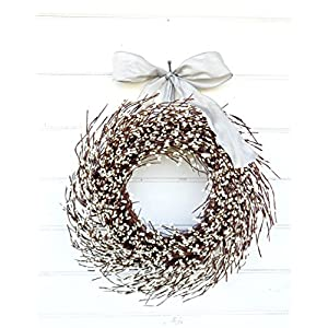 Wedding Decor, White Wreath, Winter Wreath,Holiday Wreath, Christmas Wreath, Year Round Wreath, Housewarming Gift, Wedding Wreath, Door Wreath, Rustic Home Decor, Spring Wreath, Summer Wreath, Gifts 33