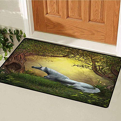GUUVOR Unicorn Commercial Grade Entrance mat Enchanted Forest Fantasy Magical Willow Trees Wildflowers Woodland Animal Folklore for entrances garages patios W29.5 x L39.4 Inch Green White
