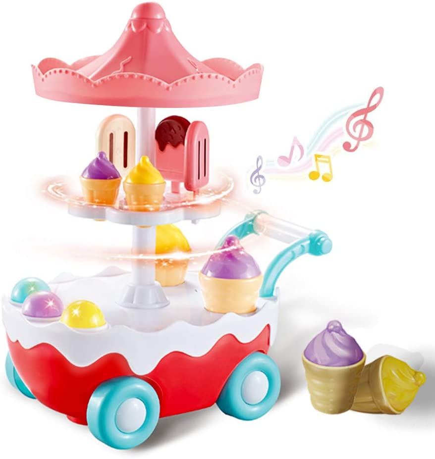 Ice Cream Toy Cart Play Set for Kids Trolley Truck Pretend Preschool Kitchen Sets & Play Food, Food Truck for Kids Electric Toys with Music & Lighting Early Development Educational Toy for Girls