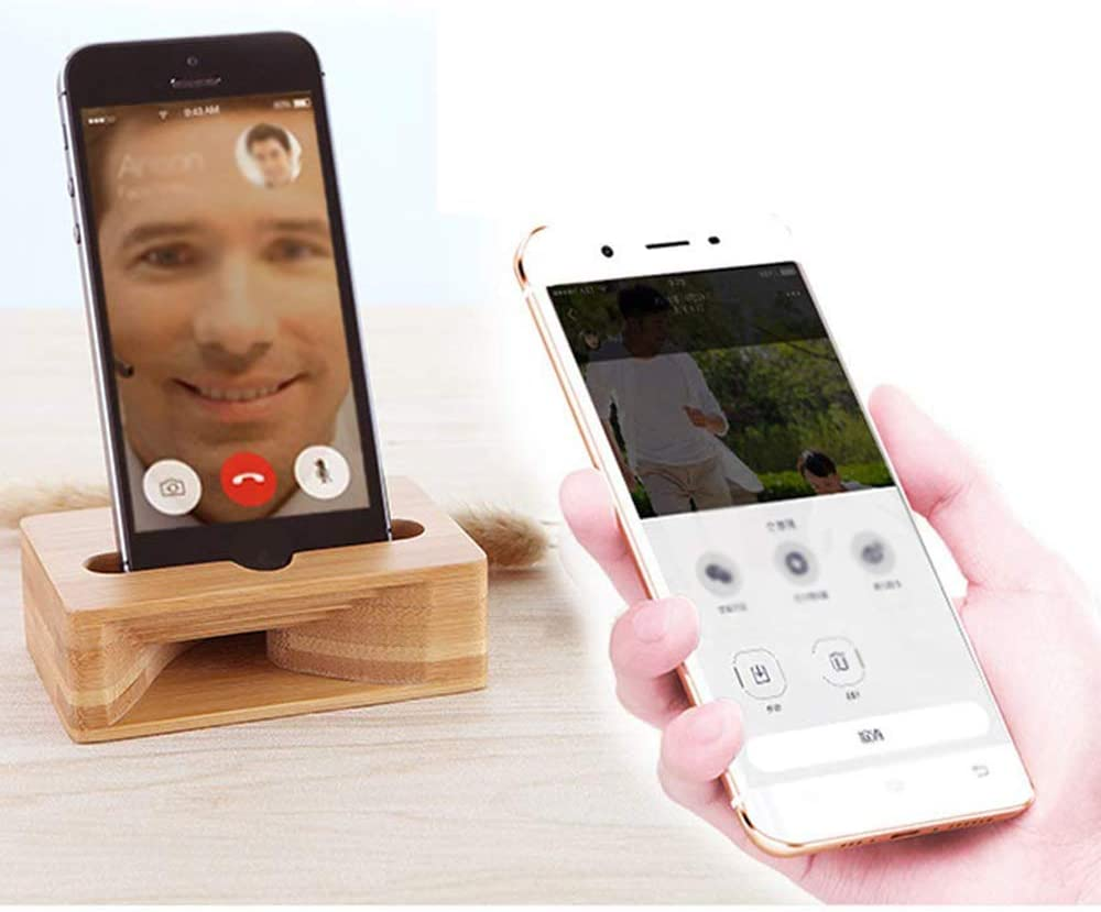 MROSW Bamboo Wooden Phone Stand Phone Holder for Universal Cell Phone Compatible with Mini Pad Phone X XS XR