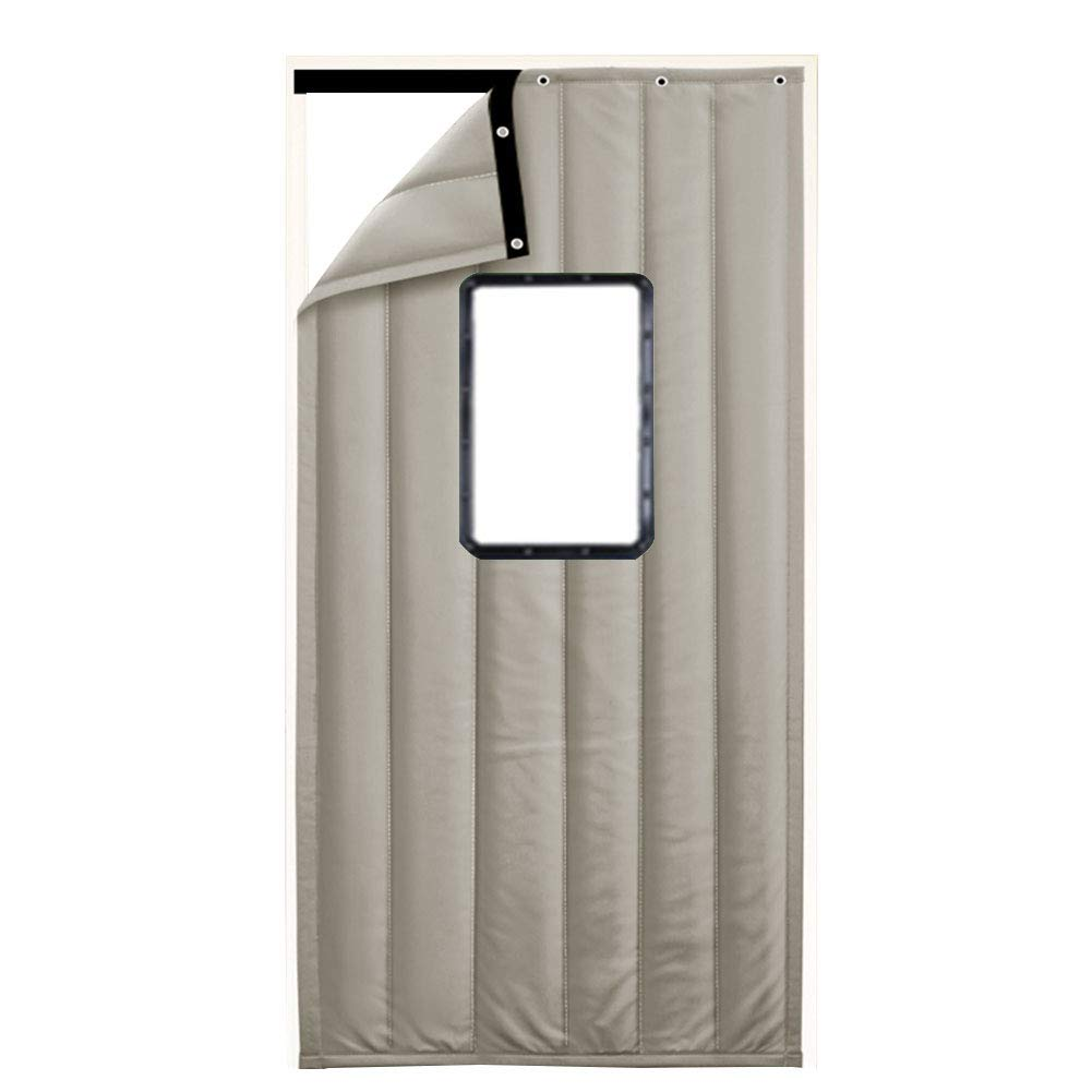 GUOWEI-Door Curtain Door Curtain Winter Keep Warm Insulation Windproof Entrance Window PU Cotton Filling, 2 Colors, 34 Sizes (Color : Gray, Size : 140x220cm)