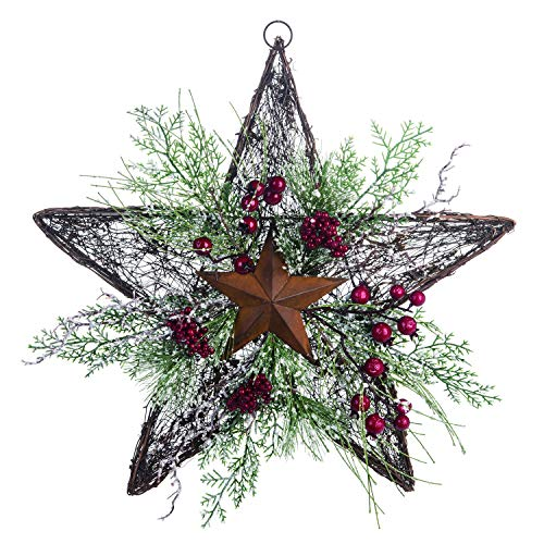16-Inch Rustic Twig Star Christmas Wreath - Hanging Holiday Decoration (Vines) (Christmas Country Wreaths Style)