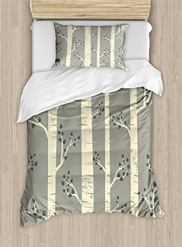 Ambesonne Grey Duvet Cover Set Twin Size, Birch Tree Branches Vintage Bohemian Contemporary Illustration of Nature, Decorative 2 Piece Bedding Set with 1 Pillow Sham, Warm Taupe Pale Yellow