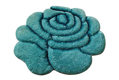(New 3D Rose Flower Shape Soft and Smooth Shaggy Rug 100cmx100cm (785) (Turquoise))