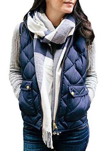 Sólidos Sin Elegantes Acolchado Azul Cuello Otoño Espesar Colores Ropa Termica Abrigos Chaquetas Corto Invierno Mujer Chaleco Mangas Hipster Casuales Stand Outerwear 0gz0fx