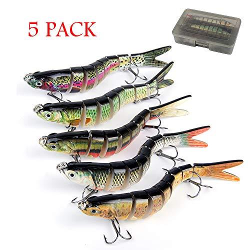 Oak-Pine 5pcs Bass Fishing Lure Sets - 7 Multi Jointed Bait with Box / 4.33