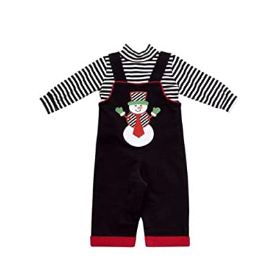 Black Corduroy Snowman Applique Boys Overalls with Bracelet for Mom