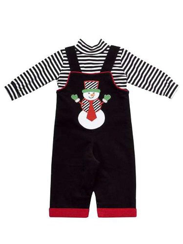 Black Corduroy Snowman Applique Boys Overalls with Bracelet for Mom
