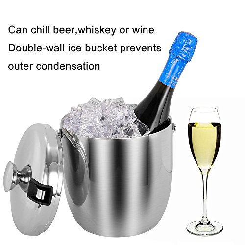 Insulated Ice Bucket,Stainless Steel Double Wall Ice Bucket with Lid and Tongs,2.8-Litre,Silver by Fortune Candy (Image #2)'