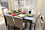 7 pc Ivory Leather 6 Person Table and Chairs ivory Dining Dinette - Ivory Parson Chair