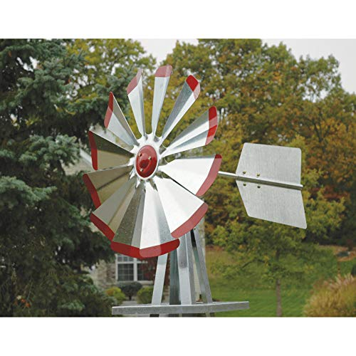 Tower Windmill (Nice1159 New Ornamental Windmill 8.25ft.H -Galvanized Steel Red Tips Strong, Secure Tower - Easy Assembly (Only 2 Sets Left) US)