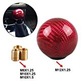 Universal Car Gear Shift Knob Shifter Lever Round Ball Shape Carbon Fiber Red