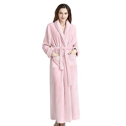 Luxurious Women Men Fleece Flannel Sleepwear Warm Shawl Collared Thicker  Long Unisex Bath Robe Couple Pajamas 9f6f622c3