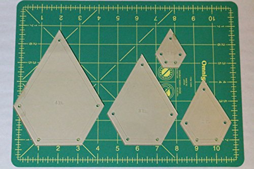 Jewel Quilting Template Set, 4'', 3'', 2'', 1'' with 1/4'' Seam Allowance by LaserThing