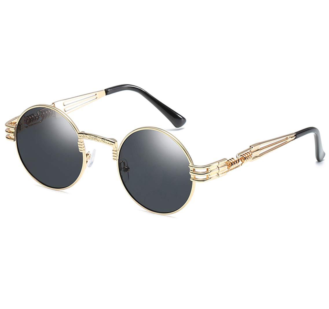 GAMT John Lennon Glasses Quavo Steampunk Round Sunglasses Circle Metal Frame Eyewear for Men and Women (Gray ...) by GAMT