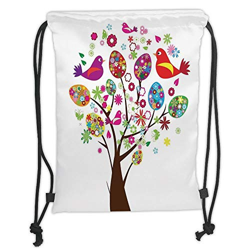 New Fashion Gym Drawstring Backpacks Bags,Flying Birds Decor,Ornate Easter Tree with Floral Eggs Love Birds Butterflies Joy Modern Artprint Home,Multi Soft Satin,Adjustable String