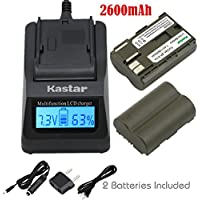 Kastar Fast Charger and Battery (2-Pack) for Canon BP-511, BP-511A, BP511, BP511A and EOS 5D, 10D, 20D, 30D, 40D, 50D, Digital Rebel 1D, D60, 300D, D30, Kiss Powershot G5, Pro 1, G2, G3, G6, G1, Pro90