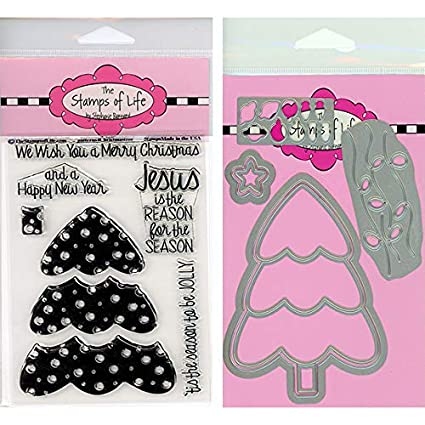 Amazon Com The Stamps Of Life Patterns Christmas Tree Stamps And