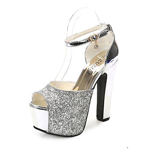 XiaoGao silberpailletten high heels an 15 zentimeter - schuhe die silbernen