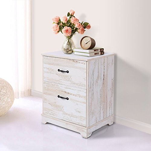 Oak Veneer Top Table (DEVAISE Nightstand Wood End/Accent Table for Living Room with 2 Drawers , White Oak)
