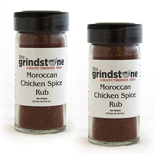 The Grindstone | Moroccan Chicken Spice Rub | Non GMO | Hand Blended Spices | 1/2 Cup Size | 2.50 oz. Glass Bottle with Sifter | (Pack of 2) - Moroccan Rub