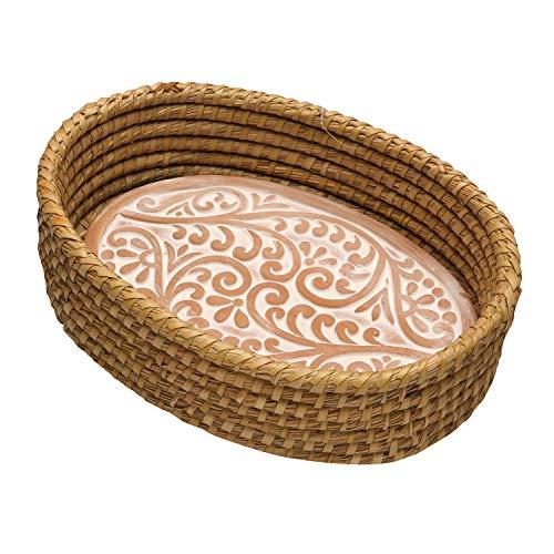 Serrv Terra Cotta Bread Warmer - Double Vine Pattern with Woven Bread Basket, Fair Trade Item (Stone Warming Bread Basket)