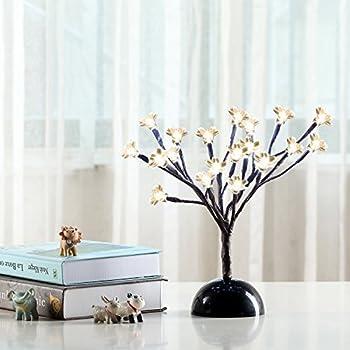 Fashionlite Natural Cherry Blossom Bonsai Tree Table Lamp,12 Inch,20L,Home