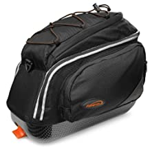 Ibera Bicycle PakRak Clip-On Quick-Release Commuter Bag, Trunk Bag, Bungee Top Pouch, Padded Shoulder Strap, Reflective Trim